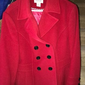 St Johns Bay womens size large red pea coat